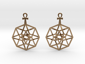 TesserAnkh-earrings in Natural Brass