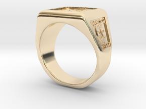 Ft. Lewis Manchus Square Ring in 14K Yellow Gold