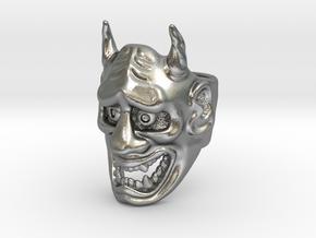 Hannya Oni Mask Ring in Natural Silver: Medium