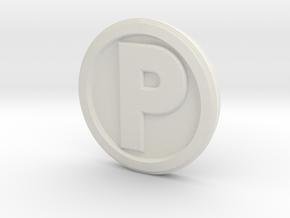 Printle Base (Round Med) 2.5 cm in White Natural Versatile Plastic
