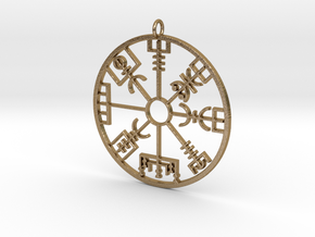 Vegvísir in Polished Gold Steel