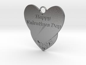 Valentine's Day Pendant in Natural Silver