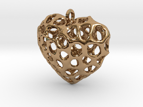 Voronoi Heart Piece Necklace in Polished Brass