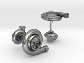 Turbocharger Cufflinks in Natural Silver