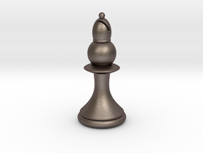 Pawns with Hats - Bishop in Polished Bronzed Silver Steel: Small