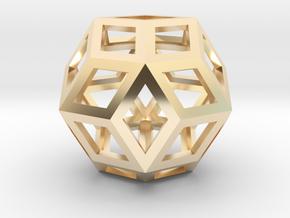 "Rhombic Triacontahedron (Precious Metals) .9"" in 14K Yellow Gold"