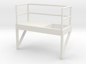 'S Scale' - 8' W - Ladder Platform, Left Opening in White Natural Versatile Plastic