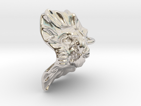 Lion Small Pendant in Rhodium Plated Brass