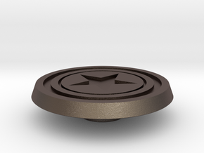 CPT America Shield Button in Polished Bronzed Silver Steel