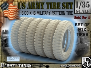 1-35 Tire 600x16 SIX UNITS Set in Frosted Ultra Detail
