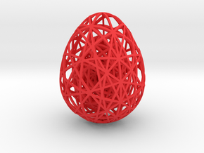 Egg in Egg in Egg - 60mm hight in Red Processed Versatile Plastic