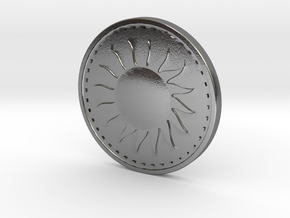 Coin of the Sun in Polished Silver