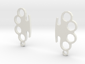 Knuckle-Duster - Earrings in White Strong & Flexible
