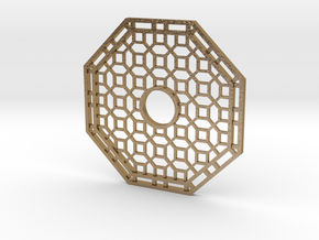 Chinese Octagon Lattice Mirror Charm in Polished Gold Steel