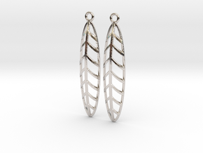 Feather - Earring in Rhodium Plated Brass