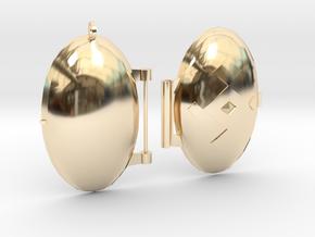 Diamond-Patterned Locket in 14k Gold Plated Brass