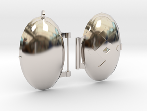 Diamond-Patterned Locket in Rhodium Plated Brass