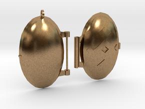 Diamond-Patterned Locket in Natural Brass