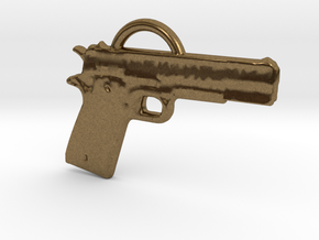 .45 Caliber Semi Auto Pistol Pendant in Natural Bronze
