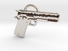 .45 Caliber Semi Auto Pistol Pendant in Platinum