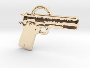 .45 Caliber Semi Auto Pistol Pendant in 14k Gold Plated Brass