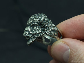 Bison Head Ring in Natural Silver: 11.5 / 65.25