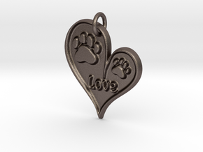 Pet Love Pendant in Polished Bronzed Silver Steel