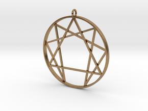 Enneagram  pendant / Fourth way pendant  in Natural Brass: Medium