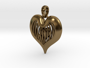 Heart In Cage - Valentine's Day in Polished Bronze