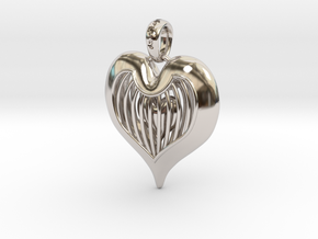 Heart In Cage - Valentine's Day in Rhodium Plated Brass