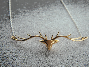 Deer head pendant in Polished Bronze