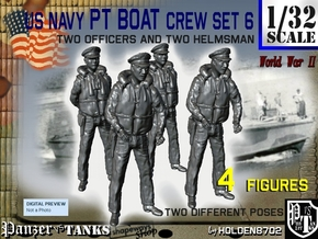 1-32 US Navy PT Boat Crew Set6 in Smooth Fine Detail Plastic