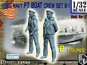 1-32 US Navy PT Boat Crew Set6-1 in Smooth Fine Detail Plastic