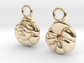 Ammonia tepida Earrings - Science Jewelry in 14K Yellow Gold
