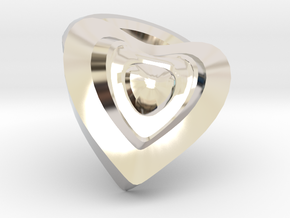 Heart- charm in Rhodium Plated Brass