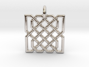 Two Hearts in Celtic Knot in Rhodium Plated Brass
