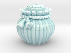 Ribbed Jar And Skull-Faced Lid in Gloss Celadon Green Porcelain