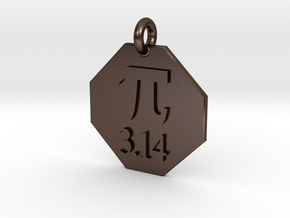 Pendant Pi in Polished Bronze Steel