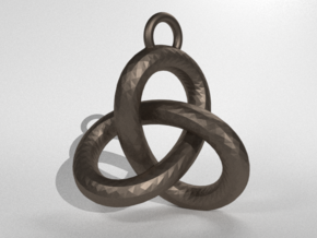 Trefoil Knot Pedant in Polished Bronzed Silver Steel