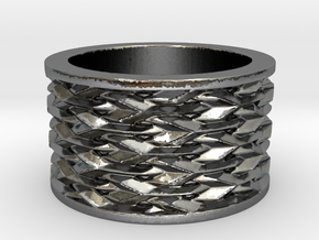 Basketweave Ring in Polished Silver: 13 / 69