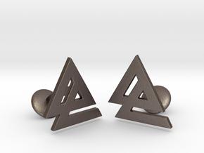 Delta 2 Cufflinks in Polished Bronzed Silver Steel