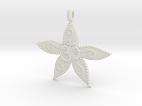 Starfish OM GOA Symbol Jewelry Necklace in White Natural Versatile Plastic