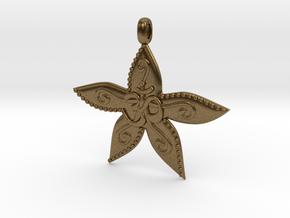 Starfish OM GOA Symbol Jewelry Necklace in Natural Bronze