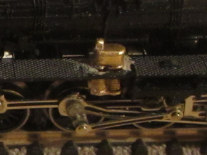 Steam locomotive air pump N scale in Natural Brass