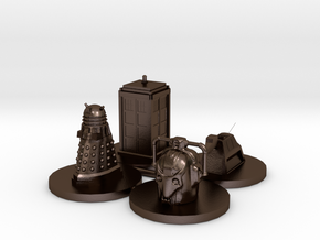 Monopoly type pawns Doctor Who in Polished Bronze Steel