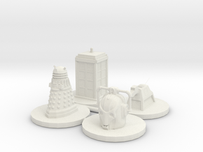Monopoly type pawns Doctor Who in White Natural Versatile Plastic