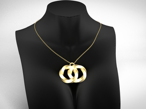 Twisting Planets Pendant  in 14k Gold Plated Brass