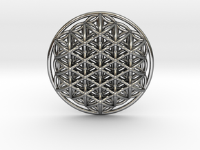 3d Flower Of Life in Polished Silver