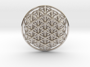 3d Flower Of Life in Rhodium Plated Brass