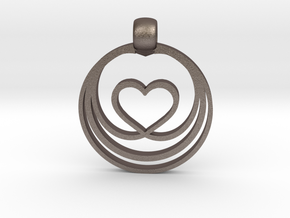 Waves of Love in Polished Bronzed Silver Steel